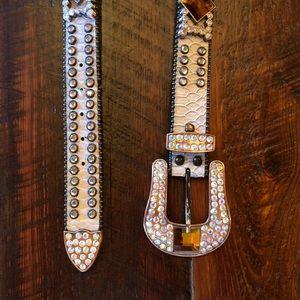 Studded Rhinestone Cowgirl Leather Belt